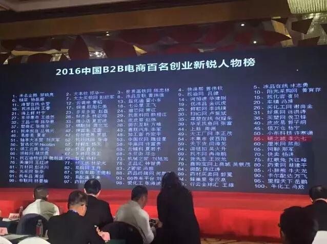 2016中国B2B电商新锐人物荣誉